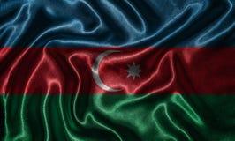 Papel de parede pela bandeira de Azerbaijão e pela bandeira de ondulação pela tela Fotografia de Stock