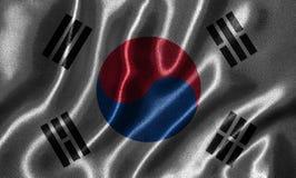 Papel de parede pela bandeira de Coreia do Sul e pela bandeira de ondulação pela tela Fotografia de Stock Royalty Free