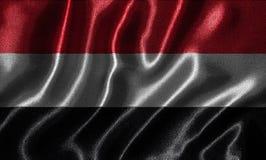 Papel de parede pela bandeira de Iémen e pela bandeira de ondulação pela tela Imagem de Stock Royalty Free