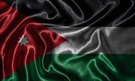 Papel de parede pela bandeira de Jordânia e pela bandeira de ondulação pela tela Fotografia de Stock