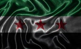 Papel de parede pela bandeira de Síria e pela bandeira de ondulação pela tela Fotografia de Stock Royalty Free