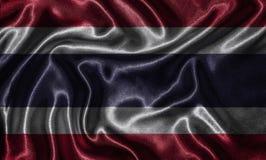 Papel de parede pela bandeira de Tailândia e pela bandeira de ondulação pela tela Fotografia de Stock