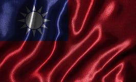 Papel de parede pela bandeira de Taiwan e pela bandeira de ondulação pela tela Imagem de Stock Royalty Free