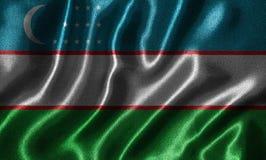 Papel de parede pela bandeira de Usbequistão e pela bandeira de ondulação pela tela Imagens de Stock Royalty Free