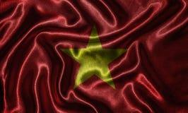 Papel de parede pela bandeira de Vietname e pela bandeira de ondulação pela tela Imagens de Stock Royalty Free