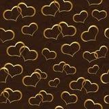 Papel de parede sem emenda com corações do ouro Imagens de Stock Royalty Free