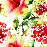 Papel de parede sem emenda com flores bonitas Imagem de Stock Royalty Free