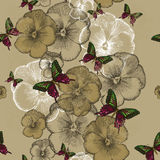 Papel de parede sem emenda com pansies e borboletas Illustra do vetor Foto de Stock