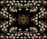 Papel de parede sem emenda do Dogwood e do ouro Imagem de Stock Royalty Free
