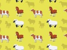 Papel de parede sem emenda 12 dos animais da fazenda de criação Foto de Stock Royalty Free