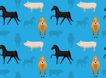Papel de parede sem emenda 3 dos animais da fazenda de criação Imagens de Stock Royalty Free