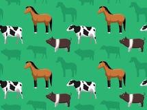 Papel de parede sem emenda 4 dos animais da fazenda de criação Imagem de Stock Royalty Free