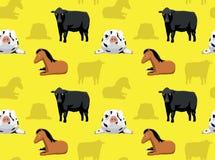 Papel de parede sem emenda 5 dos animais da fazenda de criação Foto de Stock