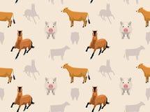 Papel de parede sem emenda 6 dos animais da fazenda de criação Foto de Stock Royalty Free