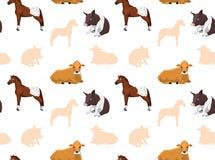 Papel de parede sem emenda 7 dos animais da fazenda de criação Fotos de Stock Royalty Free