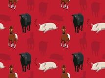 Papel de parede sem emenda 9 dos animais da fazenda de criação Fotos de Stock Royalty Free