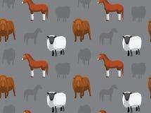 Papel de parede sem emenda 10 dos animais da fazenda de criação Fotografia de Stock