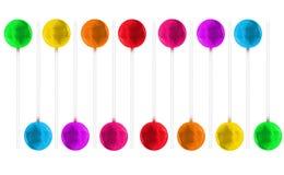 Papel de parede sem emenda dos pirulitos coloridos dos doces em um fundo branco Imagens de Stock Royalty Free