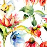 Papel de parede sem emenda floral Foto de Stock
