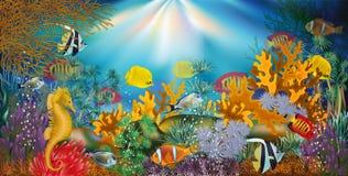 Papel de parede subaquático com peixes tropicais, vetor ilustração royalty free