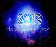 Papel de parede de surpresa do ano novo feliz 2019 imagem de stock