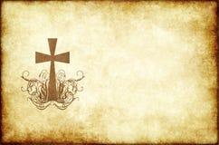 Papel de pergamino viejo con la cruz Fotos de archivo