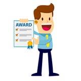 Papel de Showing Achievement Award del hombre de negocios Fotografía de archivo