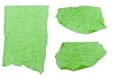 Papel de tejido verde rasgado Fotos de archivo