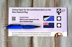 Papel de votación del referéndum de Nueva Zelanda Fotografía de archivo libre de regalías