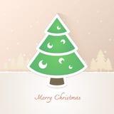 Papel del árbol de navidad con el fondo de la nieve Imágenes de archivo libres de regalías