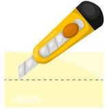 Papel del corte del cuchillo de los efectos de escritorio Imágenes de archivo libres de regalías
