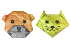 Papel del origami del perro y del gato de la vendimia. Foto de archivo libre de regalías