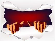 Papel del rasgón de las manos Imagen de archivo libre de regalías