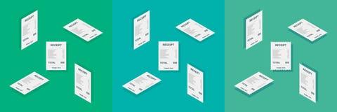 Papel del recibo, isométrico, control de Bill, factura, recibo de efectivo, pago de la utilidad, vector, icono plano, paquete del ilustración del vector