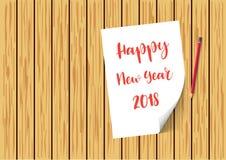 Papel do ano novo feliz 2018 em pranchas de madeira com neve e flocos de neve Molde do folheto, do cartaz ou do inseto Ilustração ilustração stock