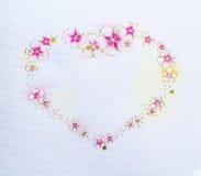Papel do cartão com coração das flores Imagem de Stock