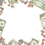 Papel do dinheiro e beira da moeda da moeda Fotos de Stock