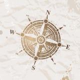 Papel do vintage com rosa de compasso Fotografia de Stock Royalty Free