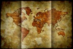 Papel doblado - mapa del mundo Stock de ilustración