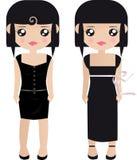 Papel dois fêmea de cabelo preto ilustração royalty free