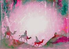 Papel dos três Reis Magos do Natal do Watercolour ilustração do vetor