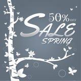 Papel e árvore da venda da mola Folhas Borboleta branco no gra escuro Imagem de Stock