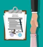 Papel e aperto de mão do acordo de contrato ilustração royalty free