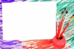 Papel e escovas em um fundo abstrato Imagem de Stock Royalty Free