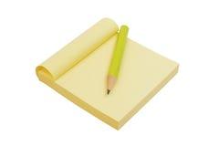 Papel e lápis amarelos de nota Fotografia de Stock