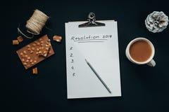 Papel en blanco del álbum con la inscripción de la resolución del Año Nuevo con el penc Fotos de archivo