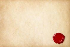 Papel en blanco viejo con el sello rojo de la cera Foto de archivo libre de regalías