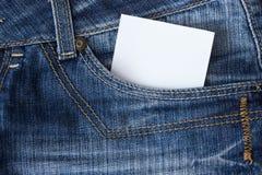 Papel en bolsillo de los tejanos Imágenes de archivo libres de regalías