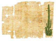 Papel envejecido con el cacto Imagen de archivo libre de regalías