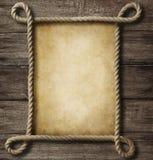 Papel envelhecido com quadro da corda ilustração royalty free